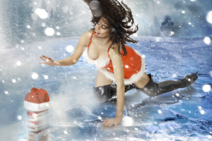 Chasing Christmas: Pretty lady Santa chasing for Christmas gift in the storm