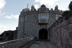Castle: Entrance to Walmer Castle, a 16th Century fort in Kent, England. Photography in this area was freely permitted.