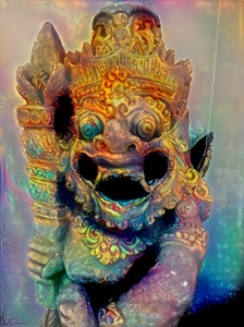 Bali demon 2: Stone demon decoration in Bali. Photo rendered through
