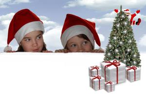 Christmas kids: Kids (my two daughters) with christmastree