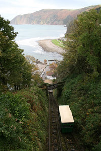 Funicular railway: A funicular railway on the coast of Devon, England.