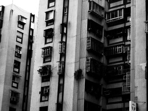 Dreary Apartments 2: In Taiwan, apartments are one shade of grey.