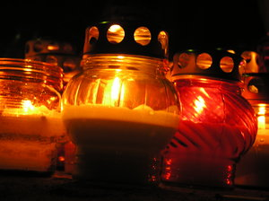 Candles at a cemetery