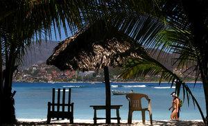 Chairs at beach shore