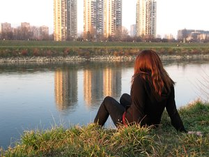 by the river