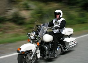 Get your motor runnin: Motorcycle rider enjoying the freedom he gets on his bike