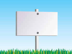 Blank Sign: Blank sign situated on grass with a blue gardient background.  Illustration with lots of copyspace.