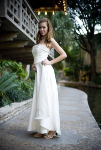 Jessica: Jessica in a wedding gown.