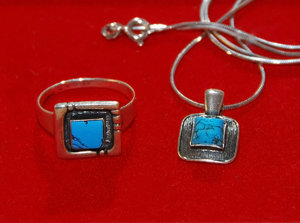 Turquoise and silver  jeweller