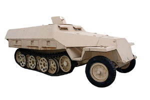 German half-track Sonderkraftf: The Sonderkraftfahrzeug 251 (SdKfz 251) half-track was an armored fighting vehicle designed and first built by Nazi Germany's Hanomag company during World War II.