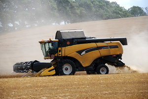 Combine harvester by the work