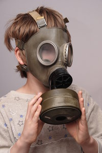 Boy in the soviet gas mask  4