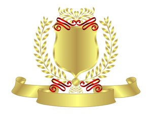 Gold Shield Red Ribbon