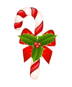Candy Cane: Candy Cane With holly and bow