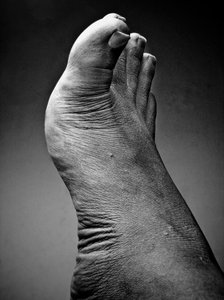foot in black and white
