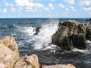 Rocky Coast hit by Waves
