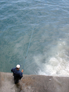Fishing: A fisherman below the Corniche, Beirut
