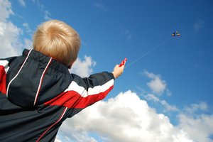 Kite Boy 2: Six years old boy flying a kite.