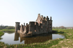 Caerlaverock Castle  5: Surrounded by a double moat and hundreds of acres of flat marshy willow woods , Caerlaverock was built to control the South-West entrance to Scotland which in early times was the waterway across the Solway Firth. Building began in about 1277, and by 1300