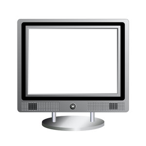 Flat Screen Monitor: Flat screen monitor illustration with copy space.