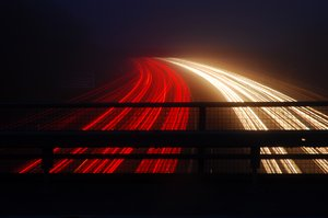 M1 travel: Long exposures showing light trails on the M1 motorway...