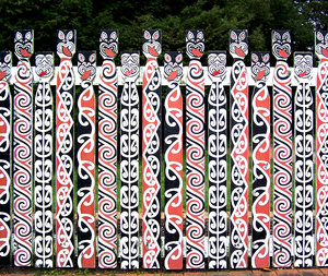 fence, painted Maori style