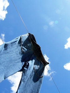 Jeans rule! 2: denim jeans drying in the sun