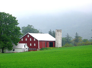 Misty Morning Barn