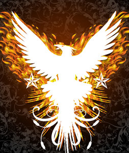 Phoenix dark: In black background