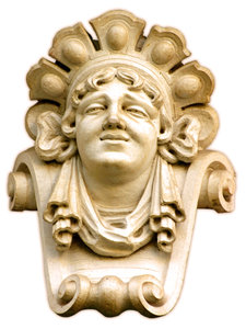 woman: decoration in the façade of a building