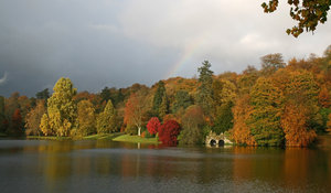 Lakeside with rainbow