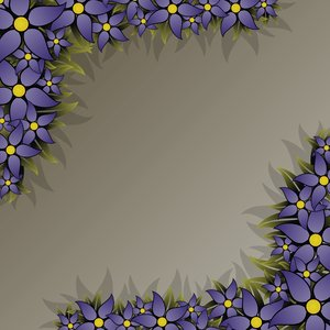Floral Frame 1: rectangular frame with blue flowers in the high-resolution