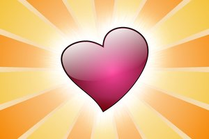 Pink Heart 1: Pink heart on a striped background
