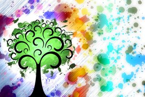 Fantasy Tree 3: Fantasy tree on a colored or gray background