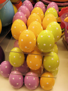 lots of dotted easter eggs