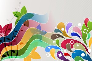 Spring Colors Explosion 2: Colorful, spring wallpaper with various elements such as flowers, circles, squares, strips, etc.