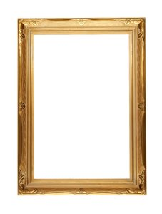Elegant Gold Frame: A large frame that has been in storage for years but has never been used. It is ornately embossed and has a satin gold finish. The frame measures 2ft x 3ft.