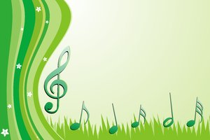Spring Dream 2: Spring green wallpaper with elements such as Easter eggs, flowers, notes and treble clef