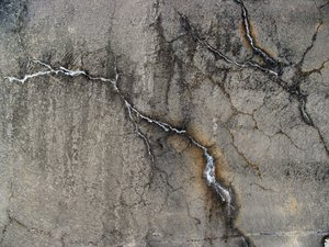 Cracks 1: Cracks in a concrete wall.