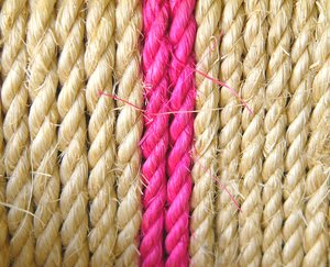 Rope 2: Strands of rope with two contrasting pink strands.
