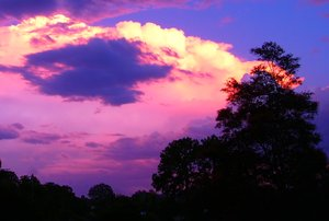 Glorious Sky: A storm front at sunset reflects the pinks and gold.