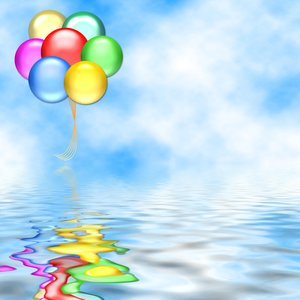 Balloons 7: Graphic of balloons on a background of sky, above water ...