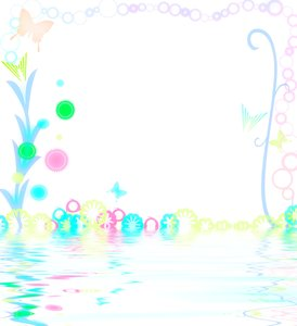 Spring reflections: Simple graphic to illustrate springtime. Some grunge and floral shapes in pastel shades.