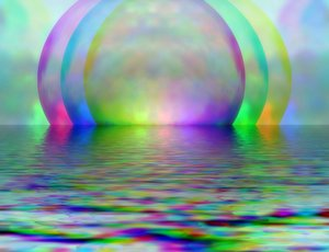 Otherworld 1: Futuristic abstract of spheres and water that could represent many things. A great background, fill or texture in rainbow colours.