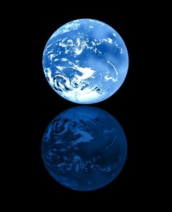 Blue Planet: A blue planet with swirling clouds and a reflection. Useful to illustrate ecology,global warming,conservation,humanity - among other things. Clouds were taken from a public domain image at NASA - the well known earth image. Perhaps you would prefer this image:  http://www.rgbstock.com/photo/mM1QPvM/Crescent+Moon+on+Blue