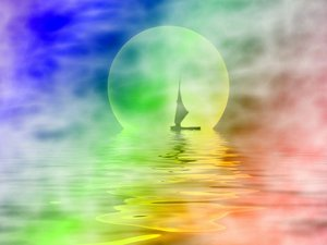 Sailor Moon 6: Silhouette of a sailboat on misty water with a large moon in the background.
