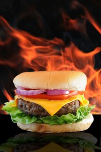 Flame Burger: Cheese burger against a flame background