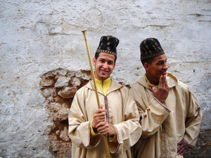 Casablanca smile: Young men dressed with traditional costumes in Casablanca, Morocco