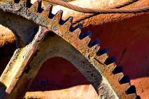 Big Gear: A section of a big gear at a steel fabrication plant.