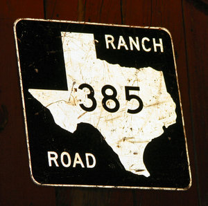 Texas Ranch Road: old road sign